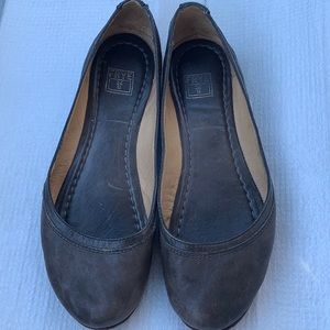 Frye Carson Ballet Taupe Brown Leather Flats 6.5